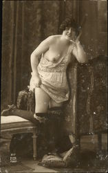 Nude Woman, Stockings & Lingerie Postcard