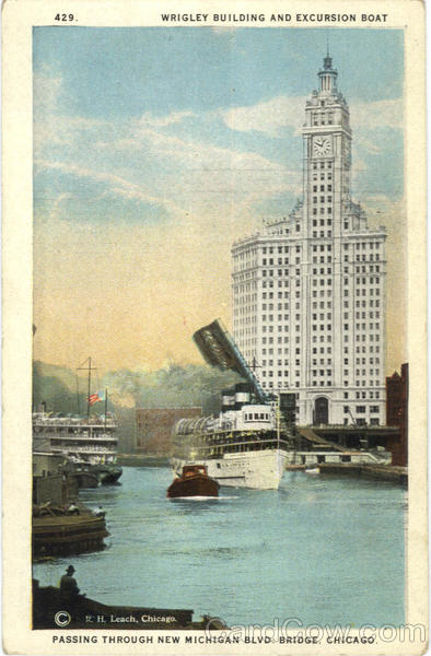Wrigley Building And Excursion Boat Chicago Illinois