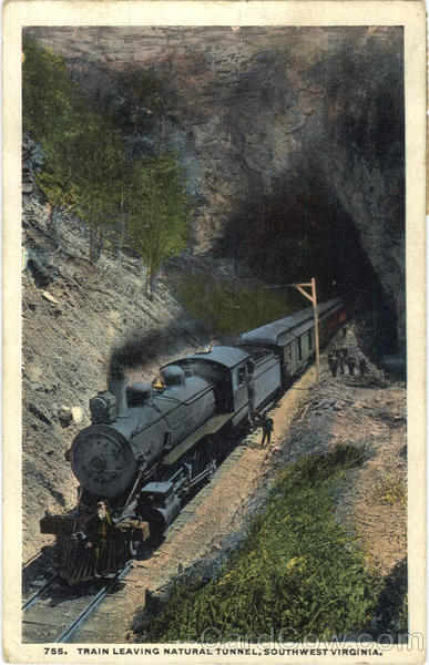 Train Leaving Natural Tunnel southwest Virginia Railroad (Scenic)
