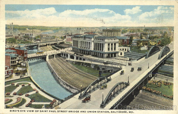 Bird's Eye View Of Saint Paul Street Bridge And Union Station Baltimore Maryland