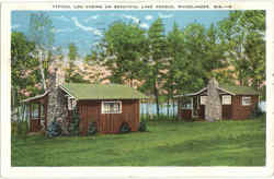 Typical Log Cabins On Beautiful Lake George