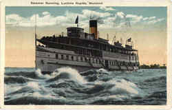 Steamer Running Postcard