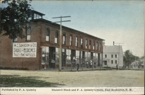 Blaisdell Block and F. A. Quimby's Store East Rochester New Hampshire
