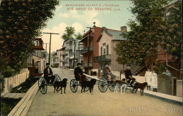 Men with Dog Pulled Carts Ste. Anne de Beaupre Canada