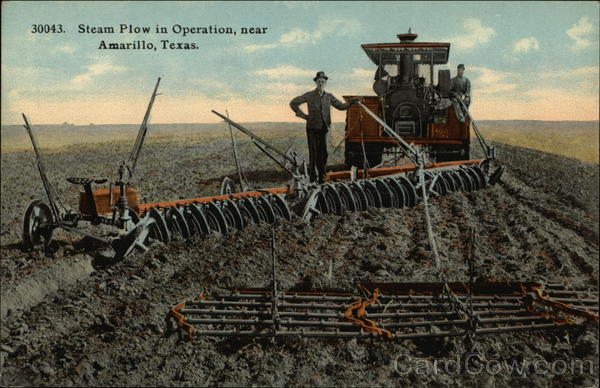 Steam Plow in Operation Amarillo Texas