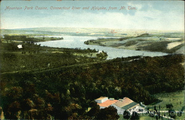 Mountain Park Casino, Connecticut River and View of Town, from Mt. Tom Holyoke Massachusetts