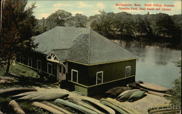 Smith College Grounds. Paradise Pond, Boat House and Canoes. Northampton Massachusetts