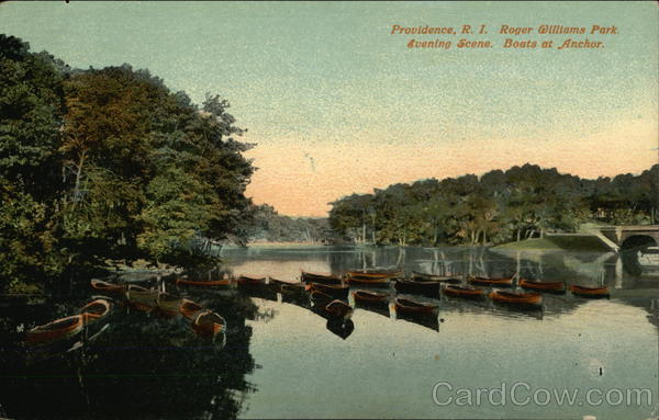 Roger Williams Park, Evening Scene, Boats at Anchor Providence Rhode Island