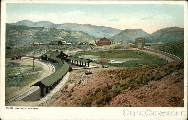 View of Town and Railroad Station Gardiner Montana