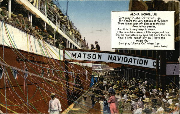 Aloha Honolulu - Matson Navigation Company Hawaii