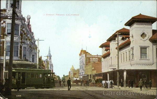 J Street Fresno Ca Postcard