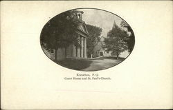 Court House and St. Paul's Church Postcard