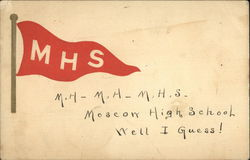 Moscow High School Flag and Chant Postcard
