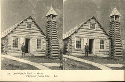 Stereograph Card - Man in front of log church