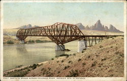 Santa Fe Bridge across Colorado River. Needles Mts. in Distance.