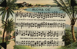 Aloha Oe Music and Lyrics with Palm Trees