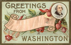General Greetings Card with flowers and Washington Portrait