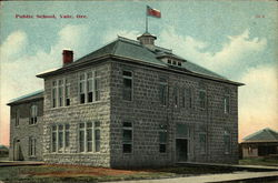 Street View of Public School Postcard