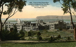 View of San Diego High Schoo overlooking City and Bay, Point Loma in distance.
