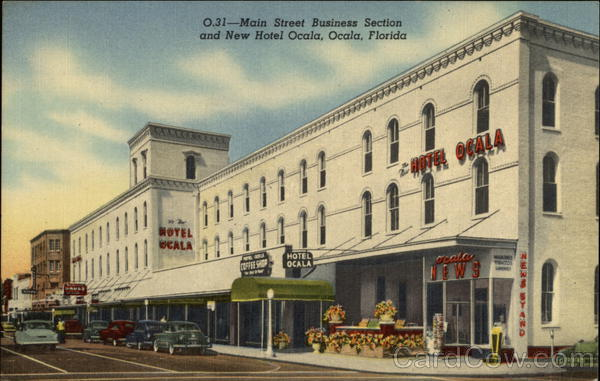 Main Street Business Section and New Hotel Ocala Florida
