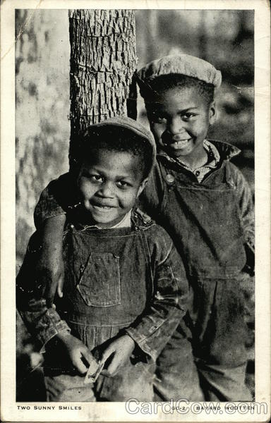 Two African American Boys Smiling By Tree Black Americana