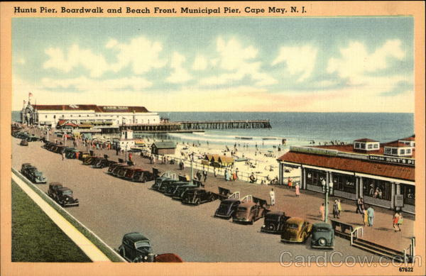 Hunts Pier, Boardwalk and Beach Front, Municipal Pier Cape May New Jersey
