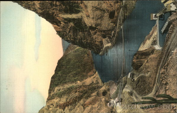Black Canyon at Site of Hoover Dam Showing Tunnels Boulder City Nevada