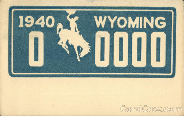 1940 Wyoming License Plate