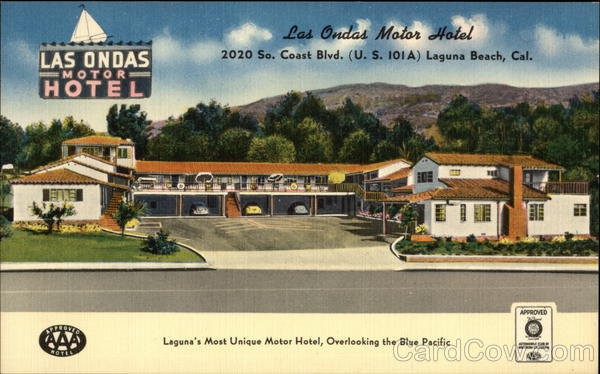 Las Ondas Motor Hotel Laguna Beach Ca Postcard