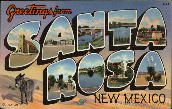 Scenes from Town in Letters Santa Rosa New Mexico Large Letter