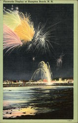Illustration of Fireworks Over Water at Hampton Beach, New Hampshire
