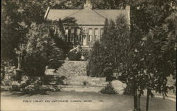Public Library and Amphitheater Postcard