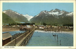 Mountains, Town, Water and Pier Postcard