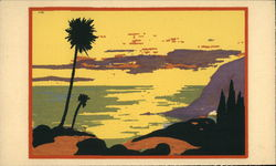 Serigraph View of Ocean and Hills