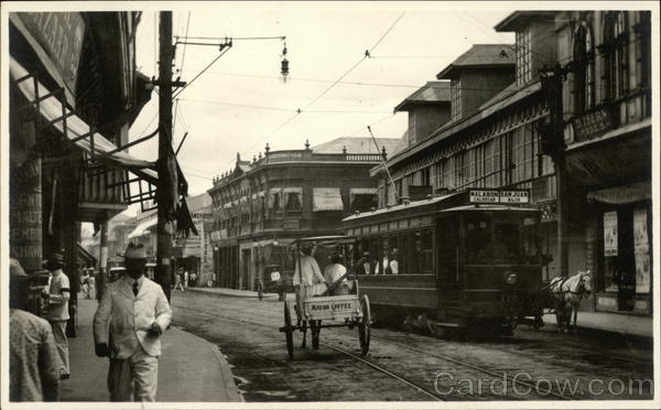 Street Scene with a Trolley Philippines Southeast Asia