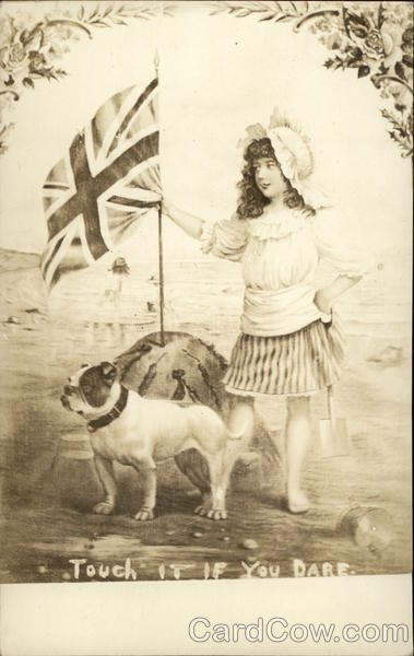 Girl with UK Flag and Bulldog Dogs Flags