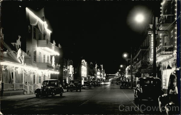 Nighttime Street Scene with Classic Cars Canada Quebec