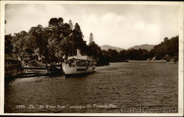 The Sir Walter Scott arriving ath the Trossachs Pier Perthshire Scotland