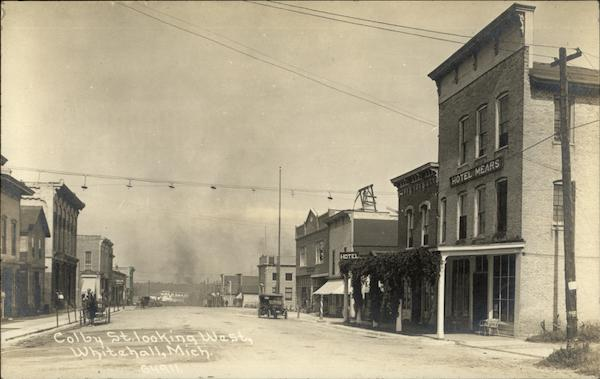 Colby St, Looking West - Hotel Mears Whitehall Michigan
