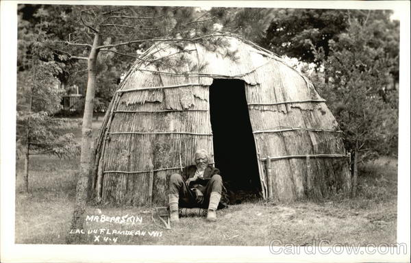 Mr Bearskin Old Indian Man Outside Hut Lac Du Flambeau