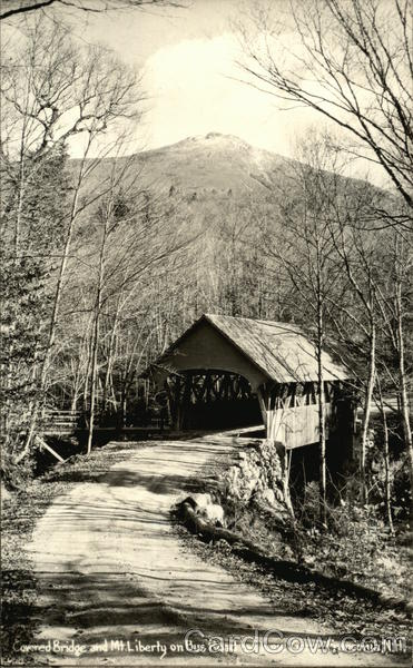 Covered Bridge and Mt. Liberty on Bus Road to Flume Gorge Franconia New Hampshire