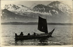 Indians Crossing Port Townsend Bay in Canoe. Olympic Mountains in Background