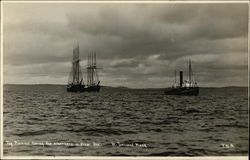 Tug Pioneer Towing Two Schooners in from Sea