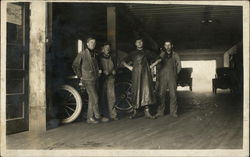 Mechanics in Early Auto Shop - 1910 Postcard