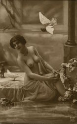 Topless Woman Sitting with Doves Postcard