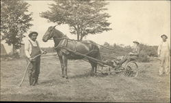 Farmers with a Horse Drawn Mower