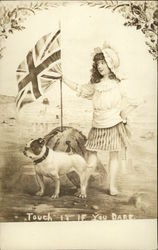 Girl with UK Flag and Bulldog