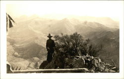 Cowboy Looking out over South Rim - Chisos Mountains Postcard