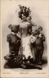 Anna Held Posing with People in Bear Suits