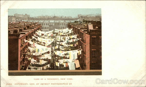 Yard of Tenements with Laundry Hanging New York City